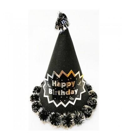 Party Hat - Pom Pom Glitter Happy Birthday