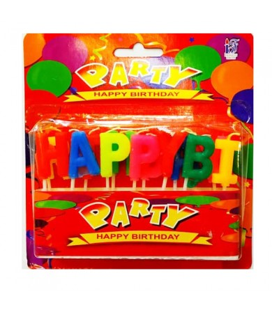 Candle - Happy Birthday Assorted colour ( Red Box )