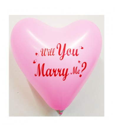 "Atex 12"" Heart Shaped printed 1 side - Will You Marry Me"