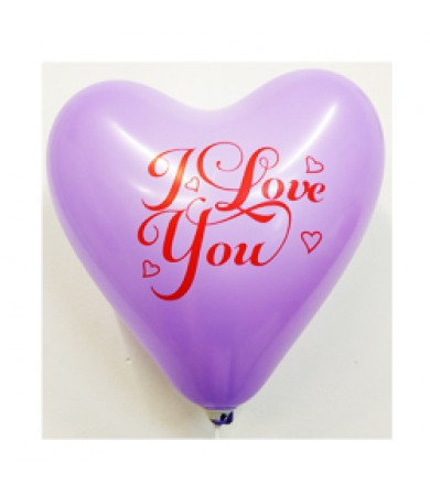 "Atex 12"" Heart Shaped Printed 1 side - I Love U"