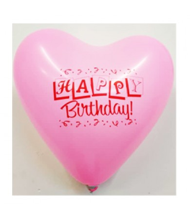 "Atex 12"" Heart Shaped Printed 1 side - Happy B'day Ribbons"