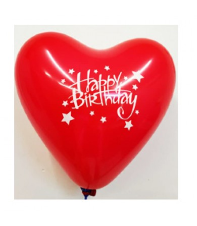 "Atex 12"" Heart Shaped Printed 1 side - Happy B'day Stars"