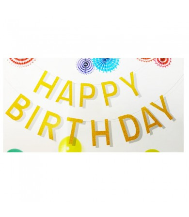 Letter Banner - Happy Birthday Metallic wording