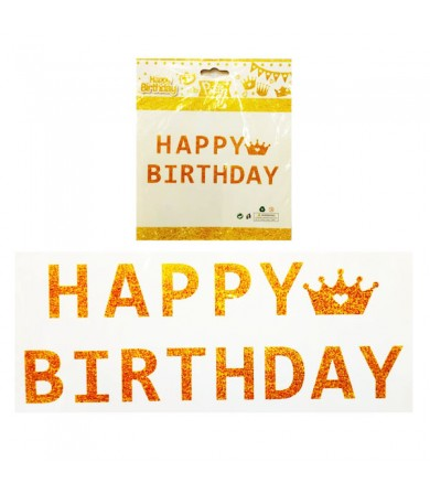 Letter Banner - Happy Birthday Crown Glitter