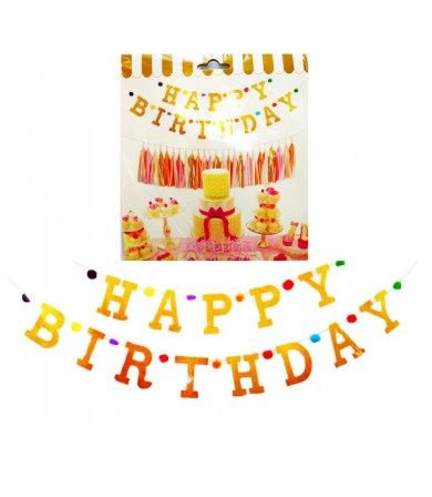 Letter Banner - Happy B'day Glitter Dust Pom Pom