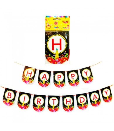 Letter Banner - Happy Birthday Flowers