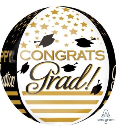 """32403 Congrats Grad Gold & Black Orbz™ (16"""")"""