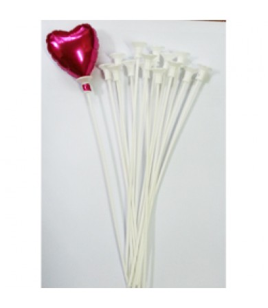Balloon Stick & Cup - 24cm White - 10pcs