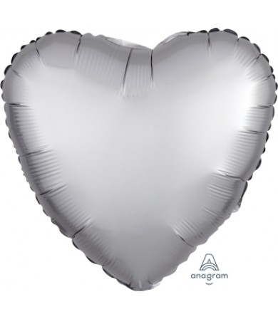 "36806 Satin Luxe™ Platinum Heart (18"")"