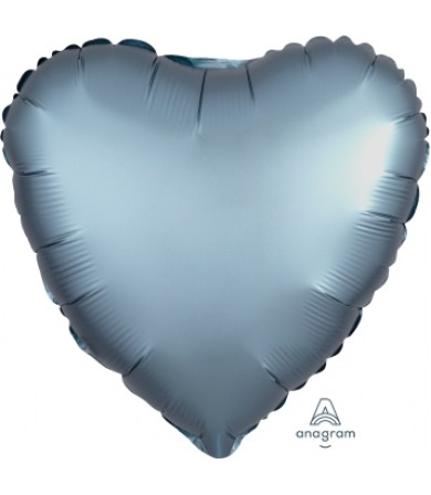 "36814 Satin Luxe™ Steel Blue Heart (18"")"