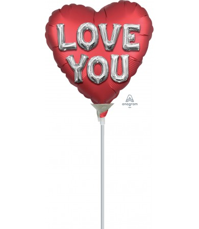 """38810 Satin Love You Balloon Letters (4"""")"""