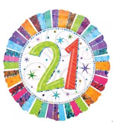 """16068 Radiant Birthday 21 (18"""")"""