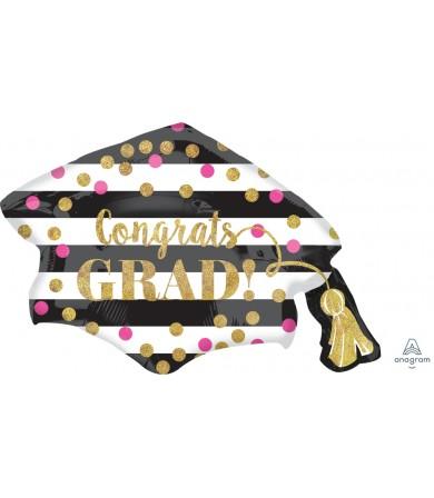35294 Gold Confetti Grad Cap - SuperShape