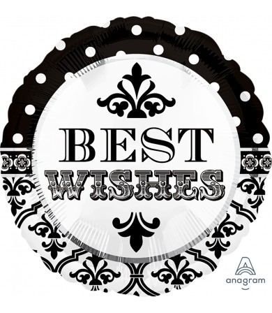 """24545 Damask & Dots Best Wishes (18"""")"""