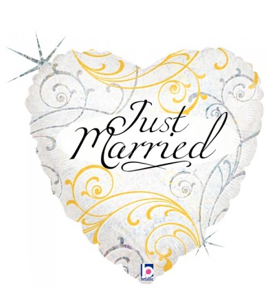"36163P Just Married filigree (18"")"