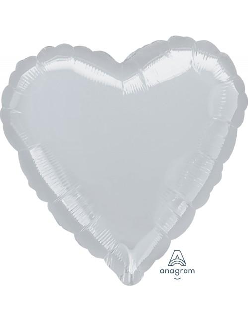 "11115 Metallic Silver Heart (32"")"