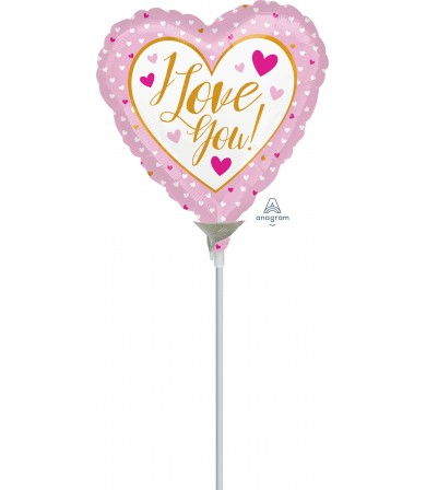 "36468 I Love You Gold & Pink (4"")"