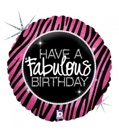 "82889 Fabulous Zebra Birthday (9"")"