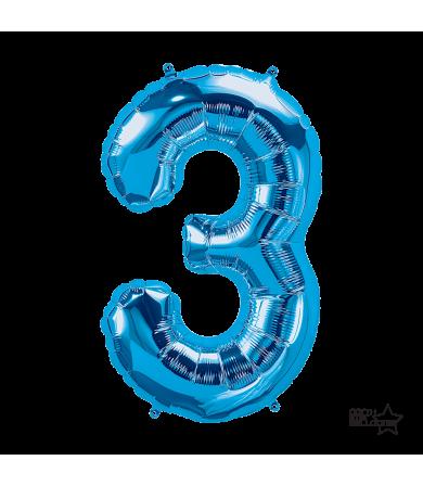 """34"""" Number """"3"""" Blue"""
