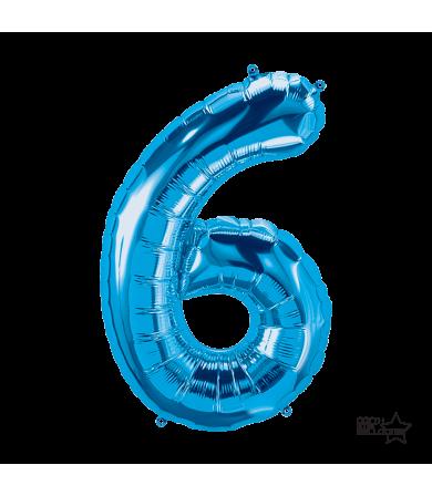 """34"""" Number """"6"""" Blue"""