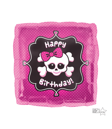 "00930 Happy Birthday Girly Skull  (18"")"