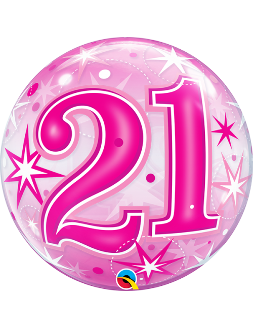 "43123- 21 Pink Starburst Sparkle [Bubbles Balloon] (22"")"