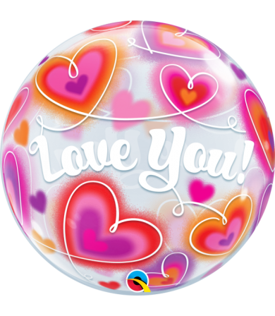 "34072 - Love You Doodle Hearts [Bubbles Balloon] (22"")"