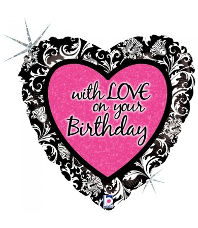 "86753P - With Love On Your Birthday Damask (18"")"