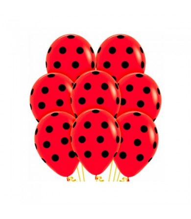 "Sempertex 12"" Fashion Solid Red 015 - AO Black Dots"