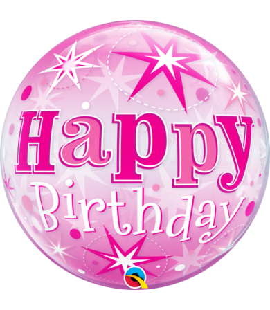 "43121 - Birthday Pink Starburst Sparkle [BUBBLES BALLOON]  (22"")"