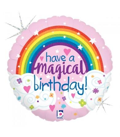 "36698P- Glitter Magical Rainbow Birthday (18"")"