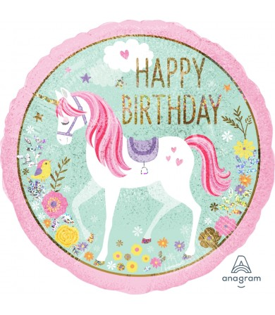 "37272 Magical Unicorn Happy Birthday (18"")"