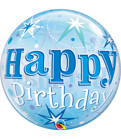 "48433 - Birthday Blue Starburst Sparkle [BUBBLES BALLOON]  (22"")"