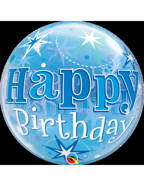 "48433 - Birthday Blue Starburst Sparkle [BUBBLES BALLOON]  (22"")"