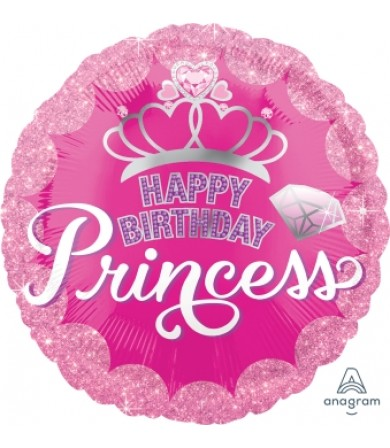 "34558 Princess Crown & Gem Happy Birthday (18"")"