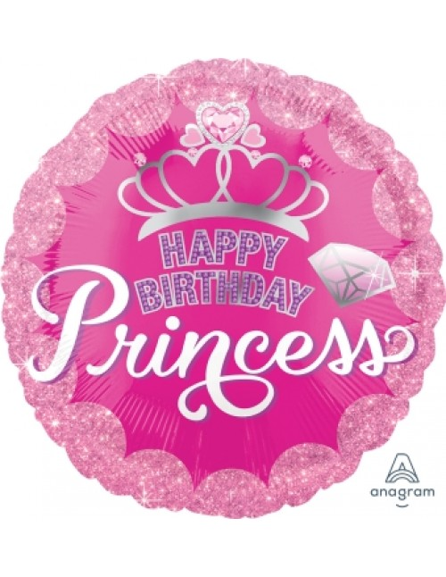 "34558 Princess Crown & Gem Happy Birthday (18"")"
