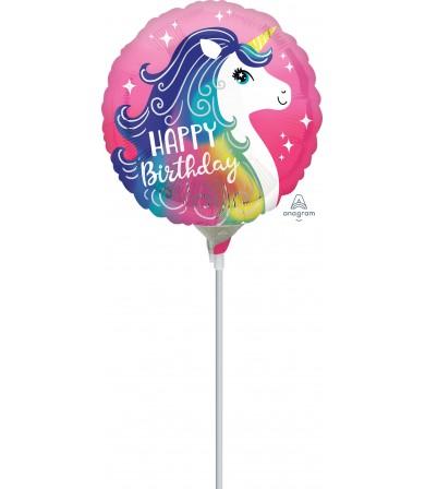 "39644 Pink Unicorn Happy Birthday (9"")"