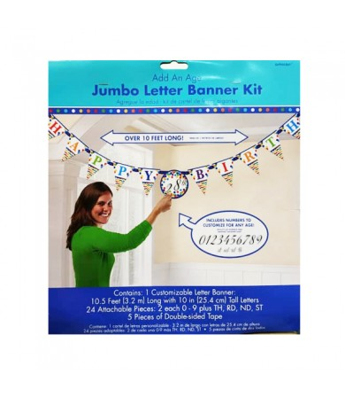 Add on Age Jumbo Letter Banner Bright Birthday - 120198