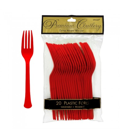 Party Plastic Fork & Spoon - Red