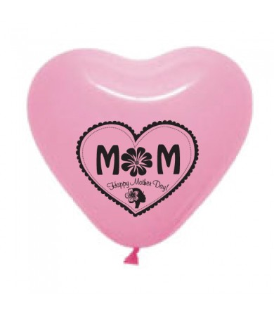 "Pre-Order - 12"" Heart Shaped 1 side print - Mom Happy Mother Day"
