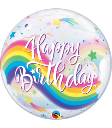 "87744 Birthday Rainbow Unicorns [BUBBLES BALLOON] (22"")"