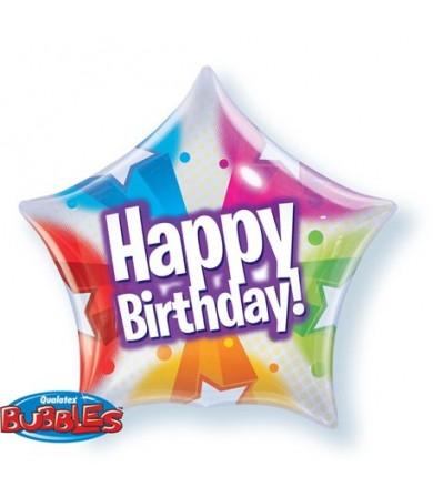"""13758 Birthday Stars & Dot Patterns Bubble Balloon (18"""")"""
