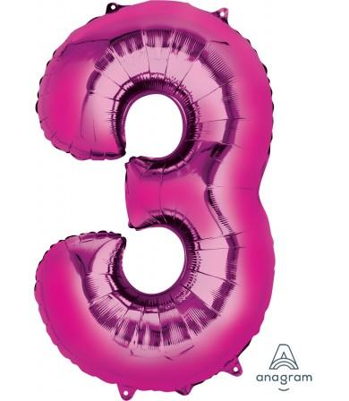 "28281 - Number -3- Pink (34"")"