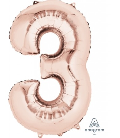 "36214 - Number -3- Rose Gold (34"")"
