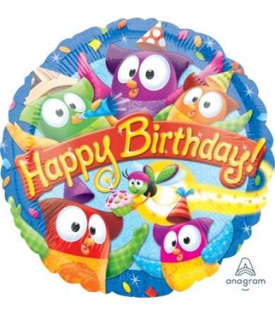 "40035 Trend Owl-Stars Happy Birthday Day (18"")"