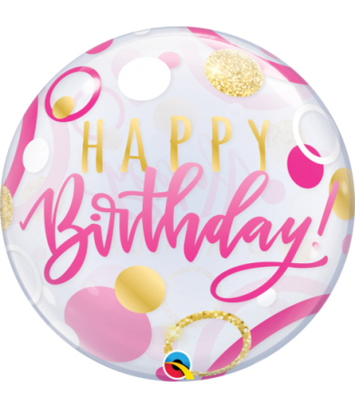 "87745 Birthday Single Bubble Pink & Gold Dots [BUBBLES BALLOON] (22"")"