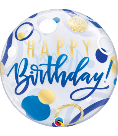 "87748 Birthday Single Bubble Blue & Gold Dots [BUBBLES BALLOON] (22"")"