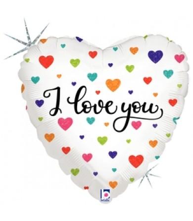 "36710P Colorful Hearts I Love You (18"")"
