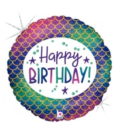 """36854P -Glitter Mermaid Birthday (18"""")"""