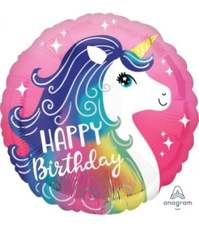 "39628 Pink Unicorn Happy Birthday (18"")"